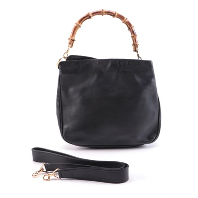 Gucci Bamboo Two-Way Bag in Black Leather