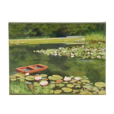 Emily Featherstone Oil Painting of Pond Landscape, 21st Century
