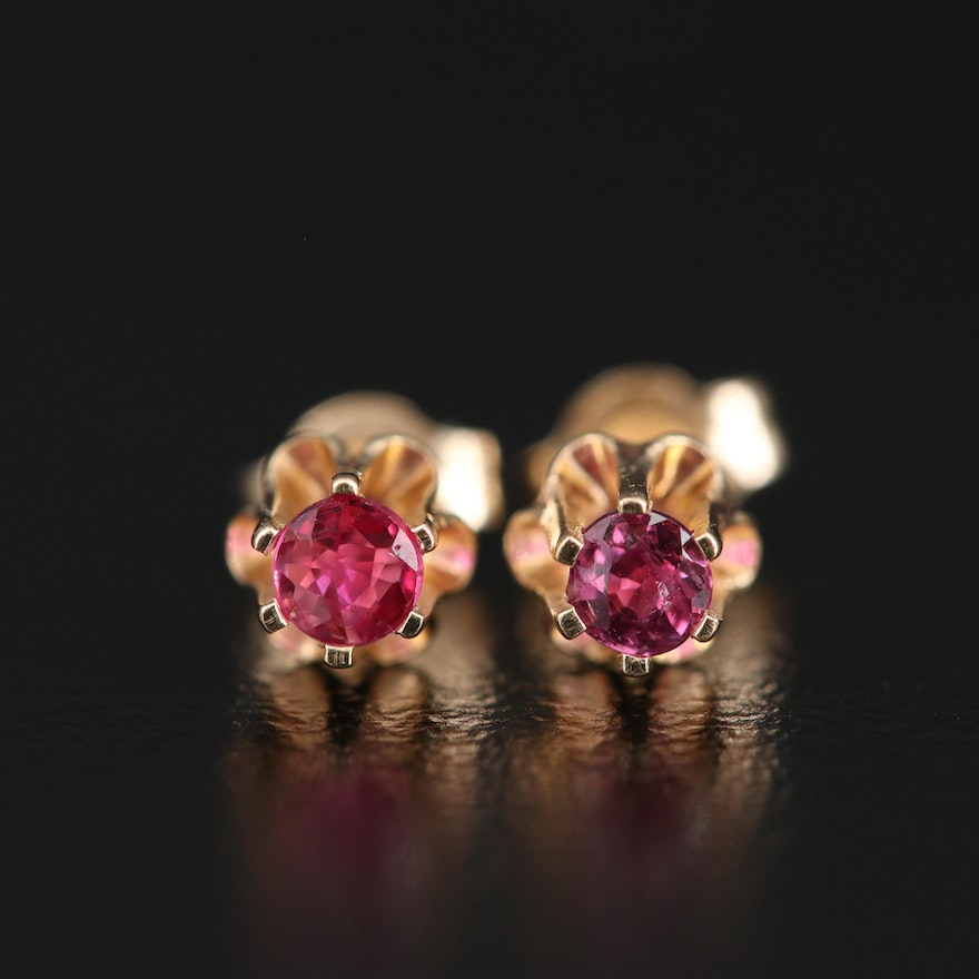 14K Ruby Buttercup Stud Earrings