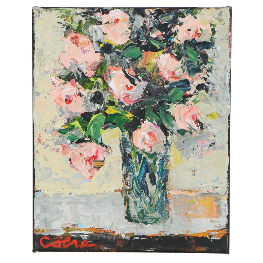 Amelia Colne Acrylic Painting of Floral Bouquet, 21st Century