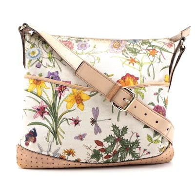 Gucci Flora Canvas Crossbody Bag with Natural Leather Trim