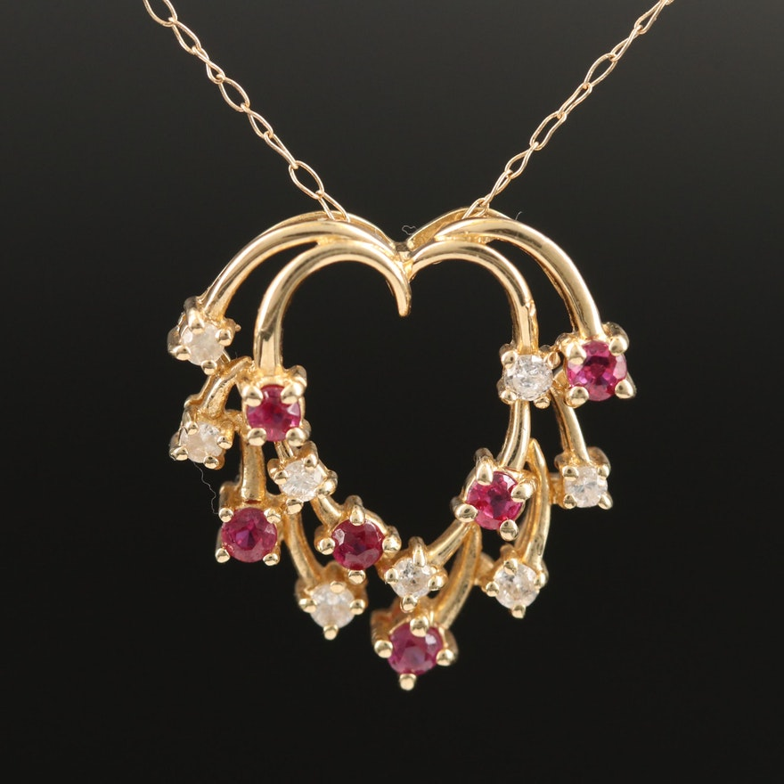 14K Diamond and Ruby Heart Pendant on 10K Chain Necklace