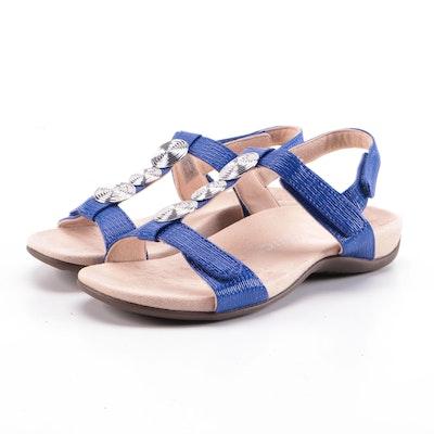 Vionic Farra II Blue Embossed Faux Patent Sandals