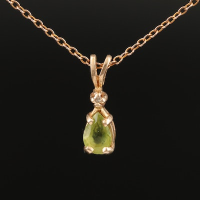14K Rose Gold Peridot and Diamond Pendant on 10K Rose Gold Chain