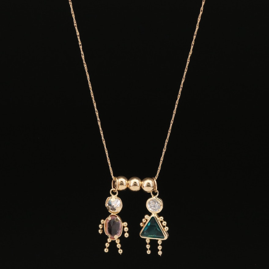 14K Children Charm Necklace with Cubic Zirconia
