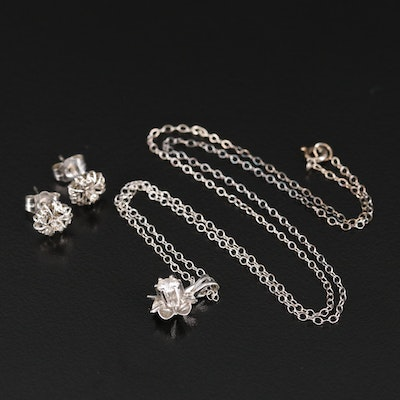 14K Diamond Necklace and Earring Set