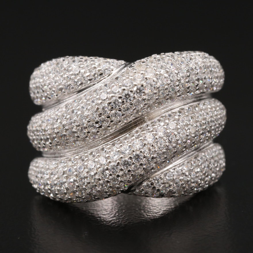 Sterling Cubic Zirconia Crossover Ring