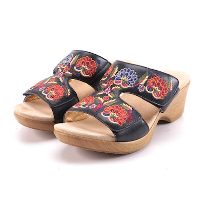 Alegria by PG Lite Floral Embroidered Black Leather Sandals