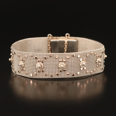 900 Silver Floral Patterned Band