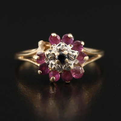 14K Sapphire, Ruby and Diamond Ring