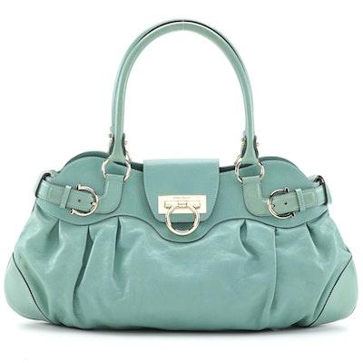 Salvatore Ferragamo Gancini 21 5370 Teal Leather Shoulder Bag