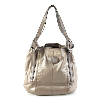 Tod's G-Line Easy Sacca Tote Bag in Waxed Canvas with Leather Trim