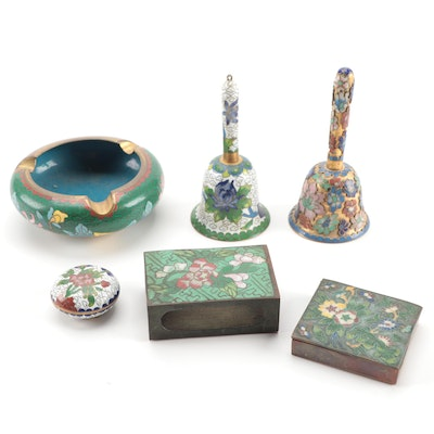 Chinese Enameled Trinket Boxes Bells and Other