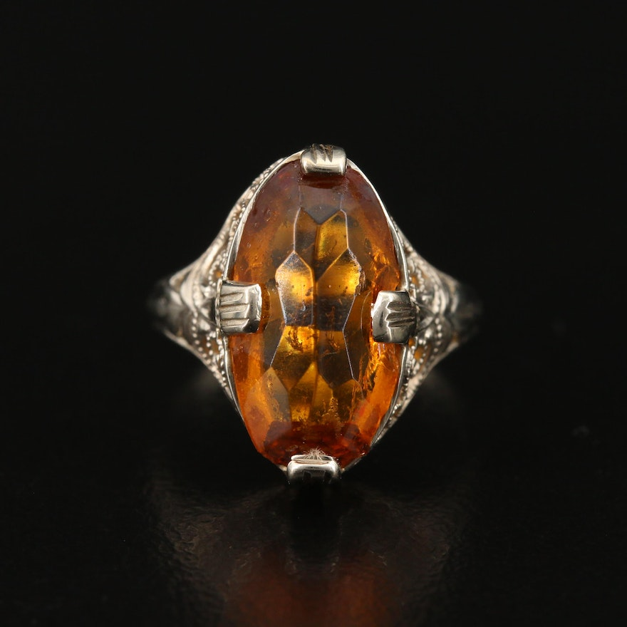 Vintage 14K Openwork Glass Ring