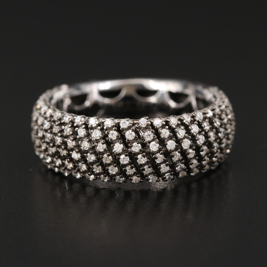Sterling Cubic Zirconia Multi-Row Band