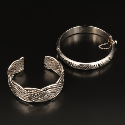 Mexican Sterling Patterned Cuff and Woven Hinged Bangle