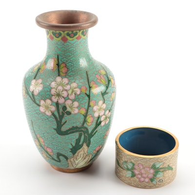 Chinoiserie Enameled Miniature Vase and Napkin Ring