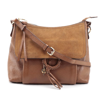 See by Chloé Joan Shoulder Bag in Brown Pebbled Leather and Suede
