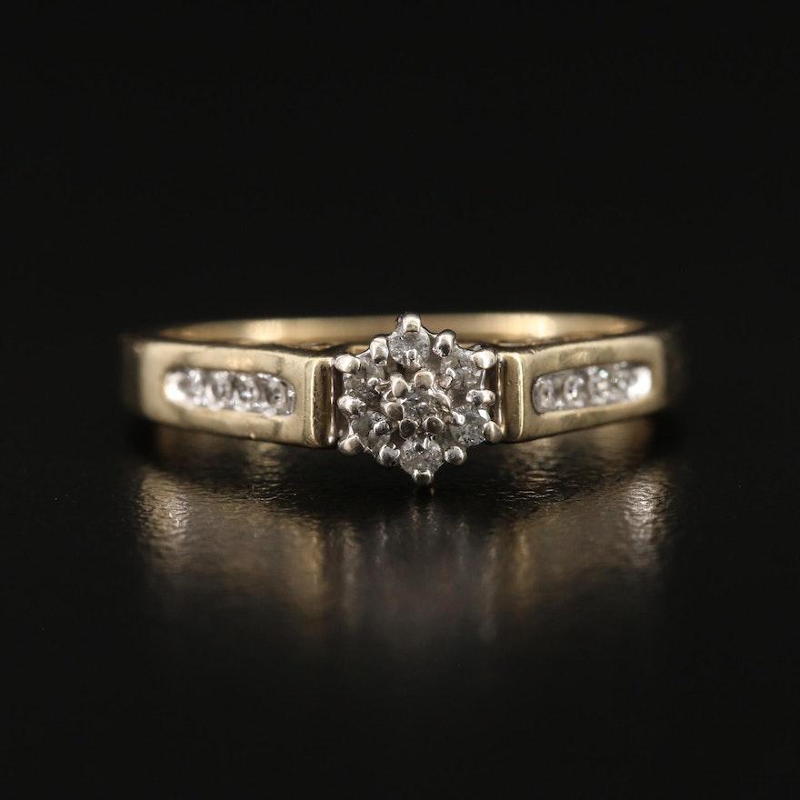10K Diamond Ring with Openwork Detail
