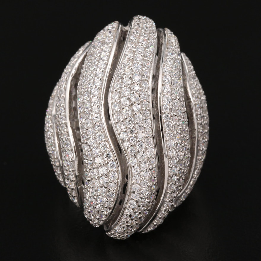 Sterling Silver Cubic Zirconia Domed Openwork Ring with Contour Pattern