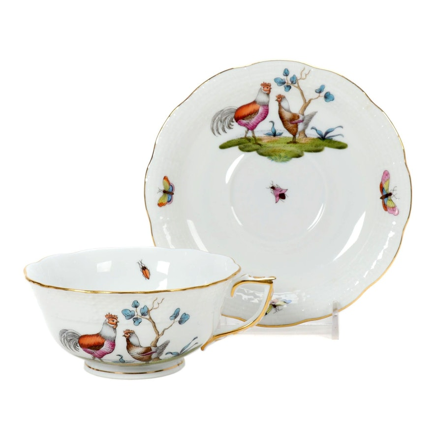 "Herend ""Chanticleer"" Hand-Painted Porcelain Teacup and Saucer"