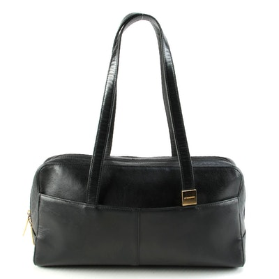 "Burberry Black Leather Baguette with ""House Check"" Lining"