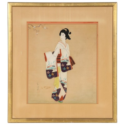 Japanese Gouache Painting of Woman in Kimono, Mid-20th Century