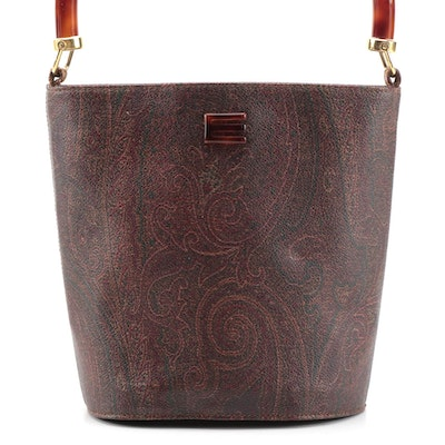 ETRO Resin Handle Two-Way Bag in Paisley Coated Canvas with Leather Trim