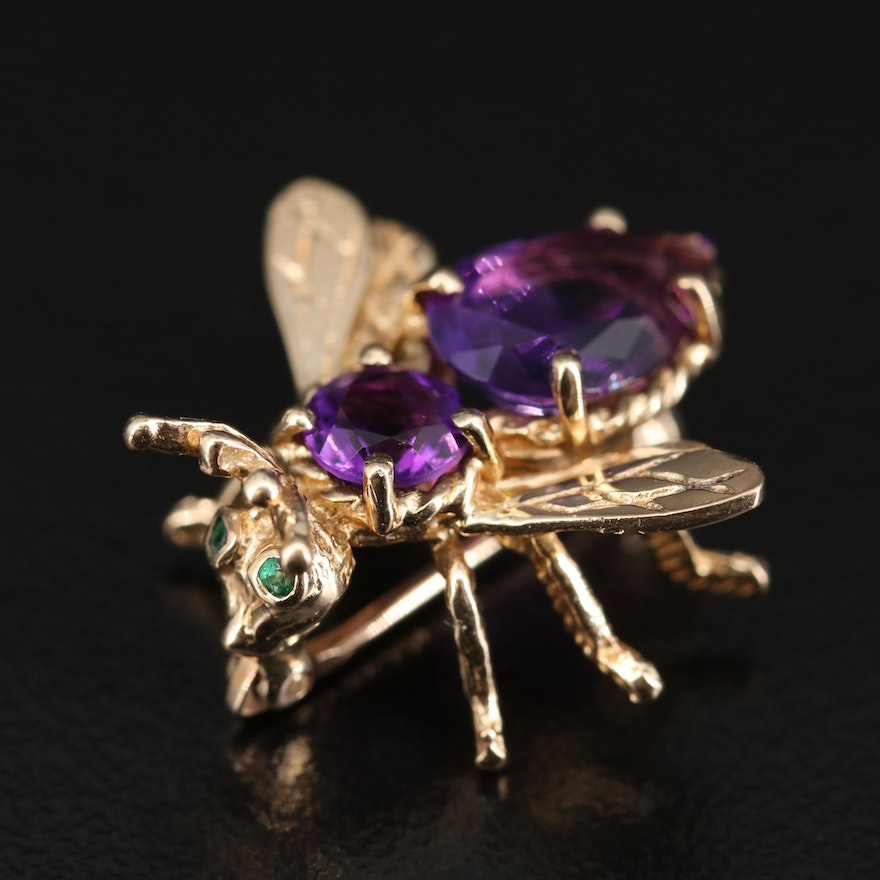 10K Amethyst and Emerald Insect Brooch