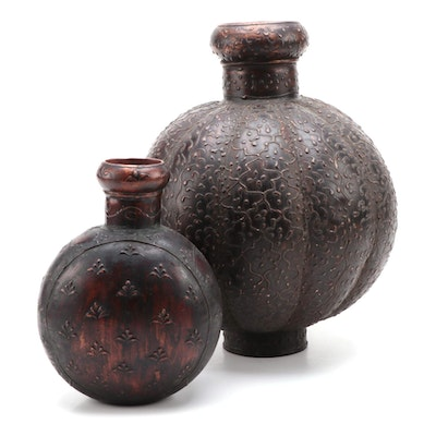 Two Contemporary Copper-Patinated Metal and Embossed Vases