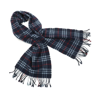 "Burberrys of London Navy Blue ""Nova Check"" Lambswool Fringed Scarf"