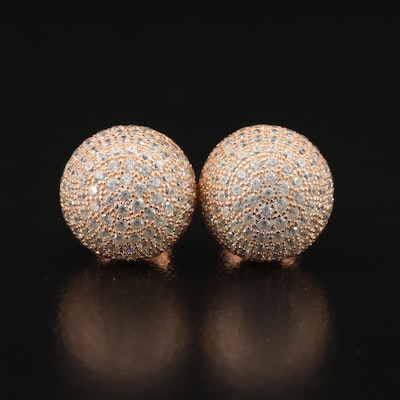 Sterling Pavé Cubic Zirconia Sphere Stud Earrings
