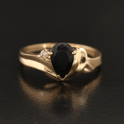 10K Black Onyx and Diamond Ring