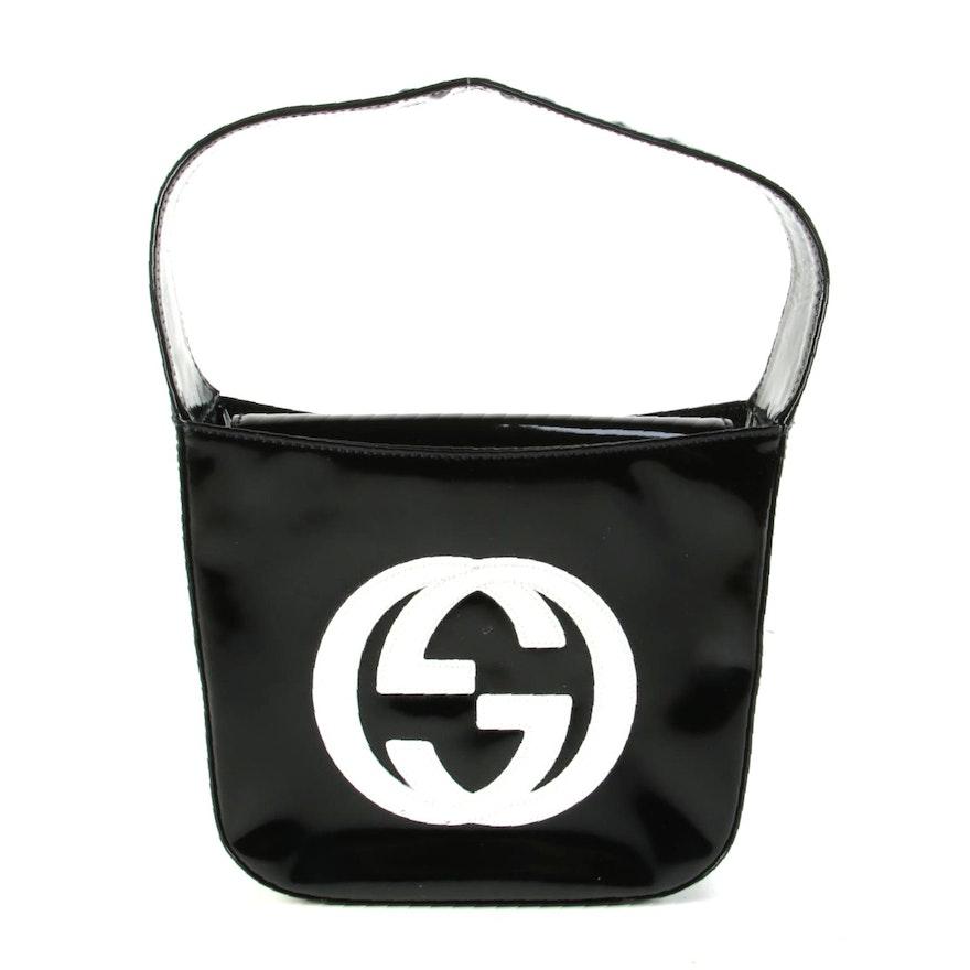Gucci Black Patent Leather Handbag with White Interlocking GG Logo