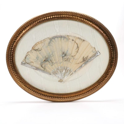 Victorian Hand Painted Silk Fan with Mother-of-Pearl Handle in Custom Gilt Frame
