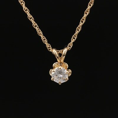 14K 0.33 CT Diamond Solitaire Pendant Necklace