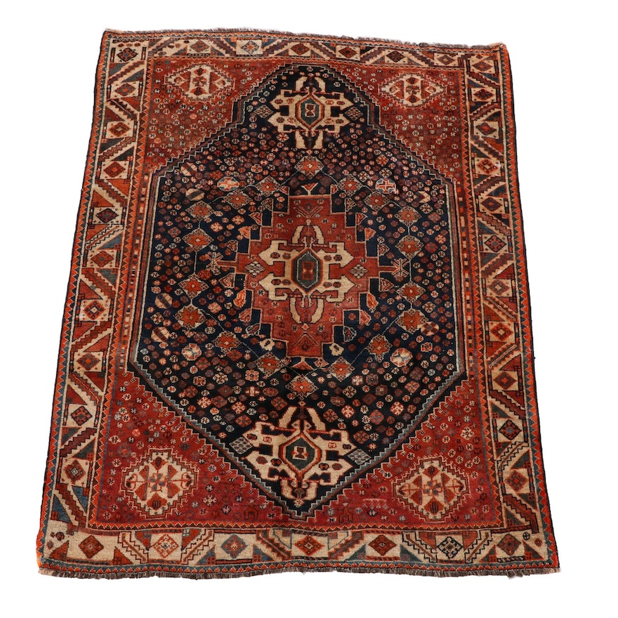 4'10 x 6'10 Hand-Knotted Persian Abadeh Wool Area Rug