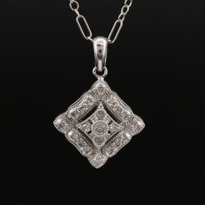 14K Diamond Milgrain Necklace