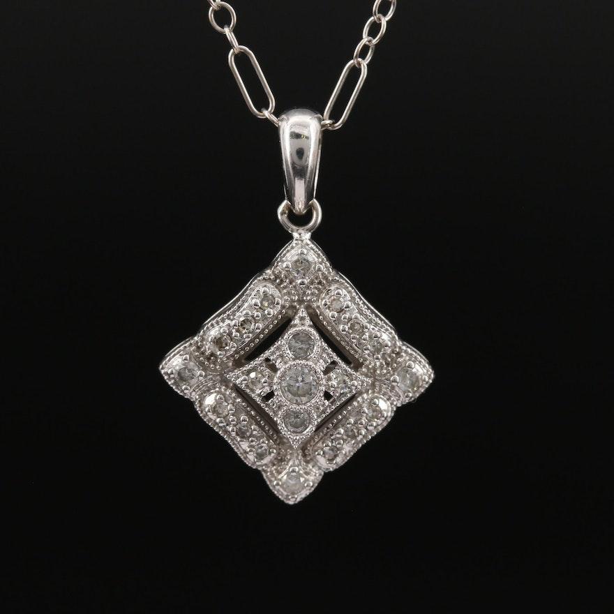 14K Diamond Milgrain Necklace