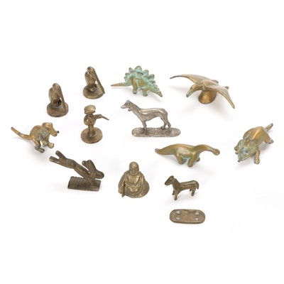 Brass and Metal Dinosaurs, Animals and Other Figurines, Mid-20th Century