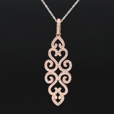 Sterling Silver Cubic Zirconia Necklace with Scroll Pattern