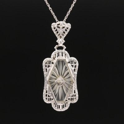 Art Deco 14K Diamond and Rock Crystal Quartz Necklace