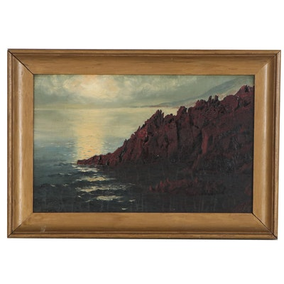Landscape Oil Painting of Sea Cliff, Early 20th Century