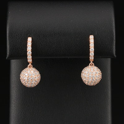 Sterling Pavé Cubic Zirconia Sphere Dangle Earrings