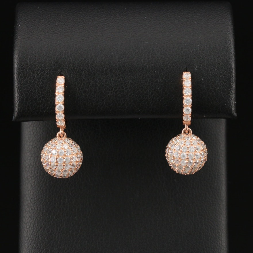 Sterling Pavé Cubic Zirconia Sphere Dangle Earrings