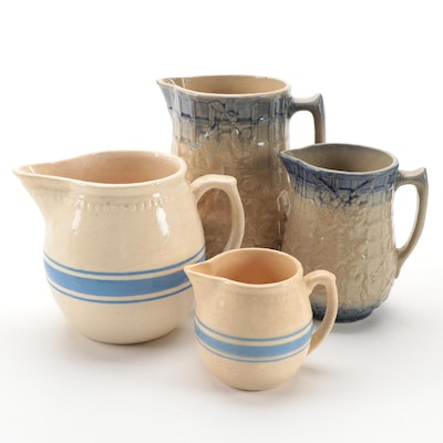 Weller Blue Striped Pitcher and Other Lattice Embossed Ceramic Pitchers