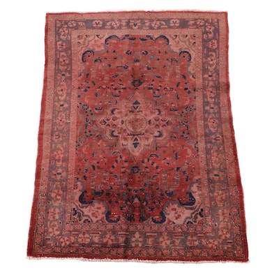 4'10 x 7'3 Hand-Knotted Persian Isfahan Wool Rug