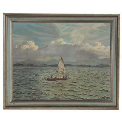 East Asian Seascape Oil Painting, Mid-20th Century