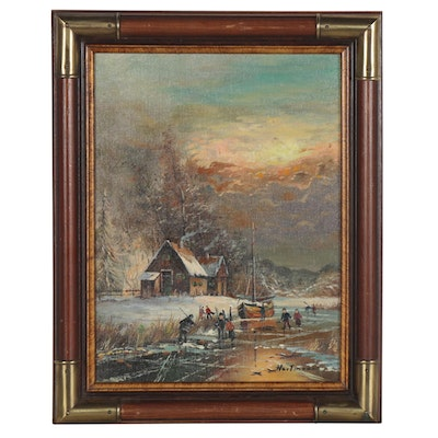 Genre Painting of Frozen River Scene, Mid-20th Century