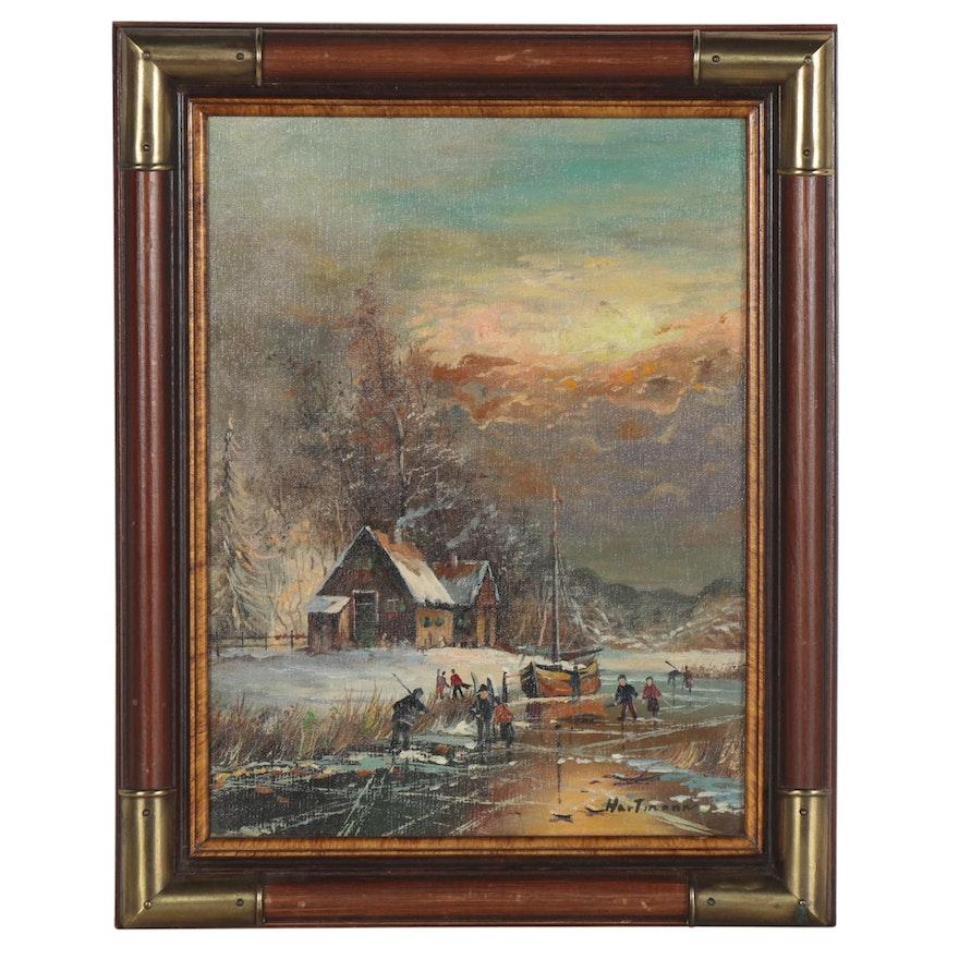 Genre Painting of Frozen River Scene, Mid-20th Century